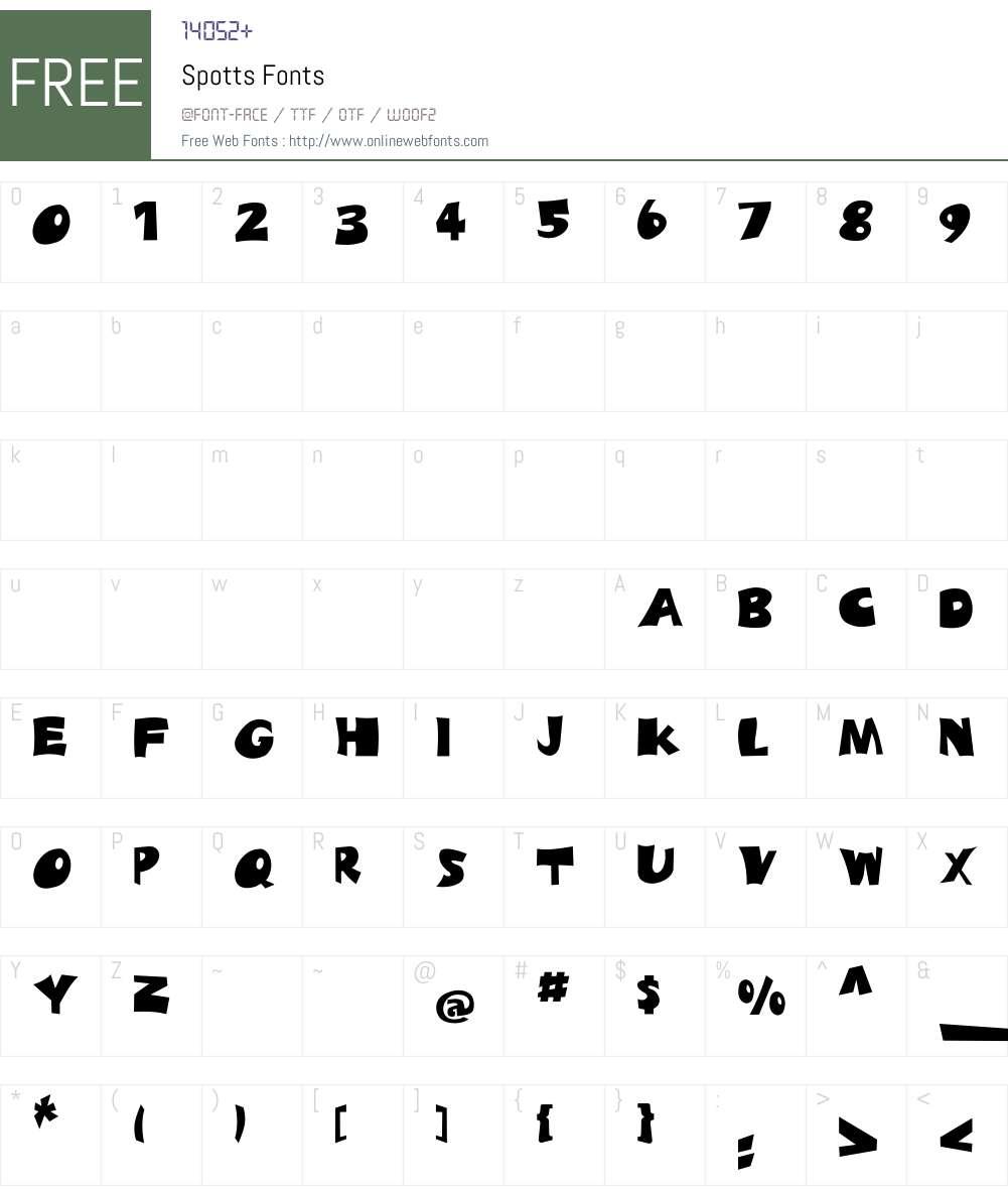 Spotts Font Screenshots