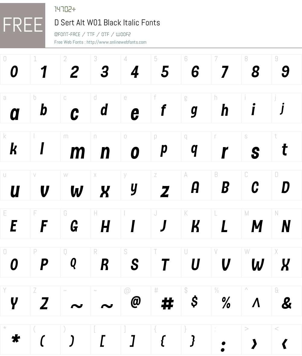 DSertAltW01-BlackItalic Font Screenshots