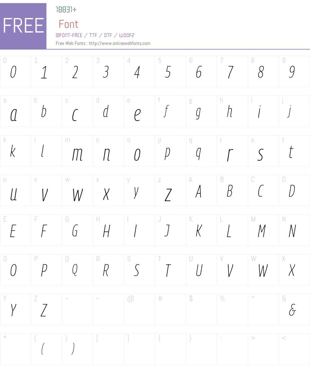 PanoramaW Condensed UltraLight Font Screenshots