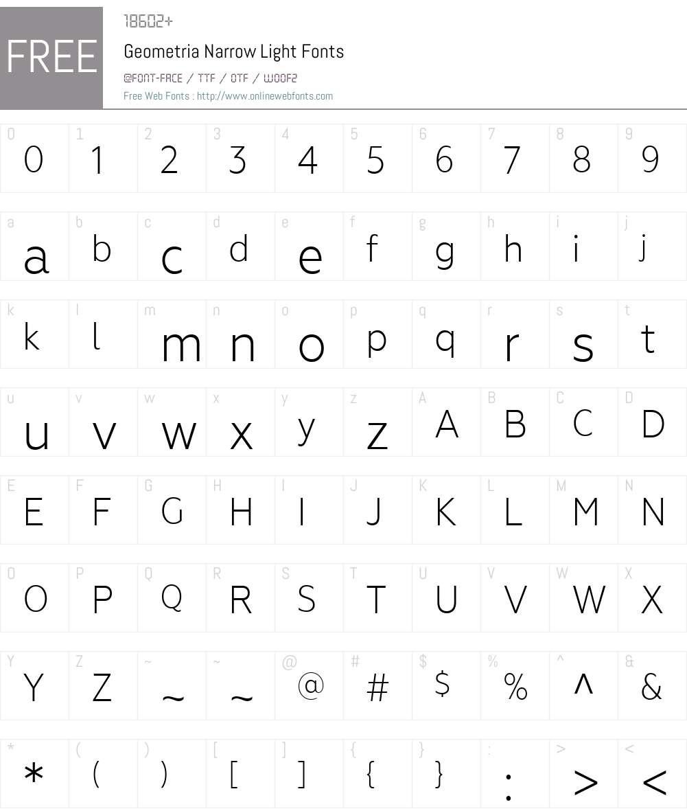 GeometriaNarrow-Light Font Screenshots