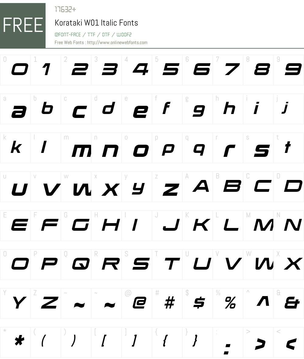 KoratakiW01-Italic Font Screenshots