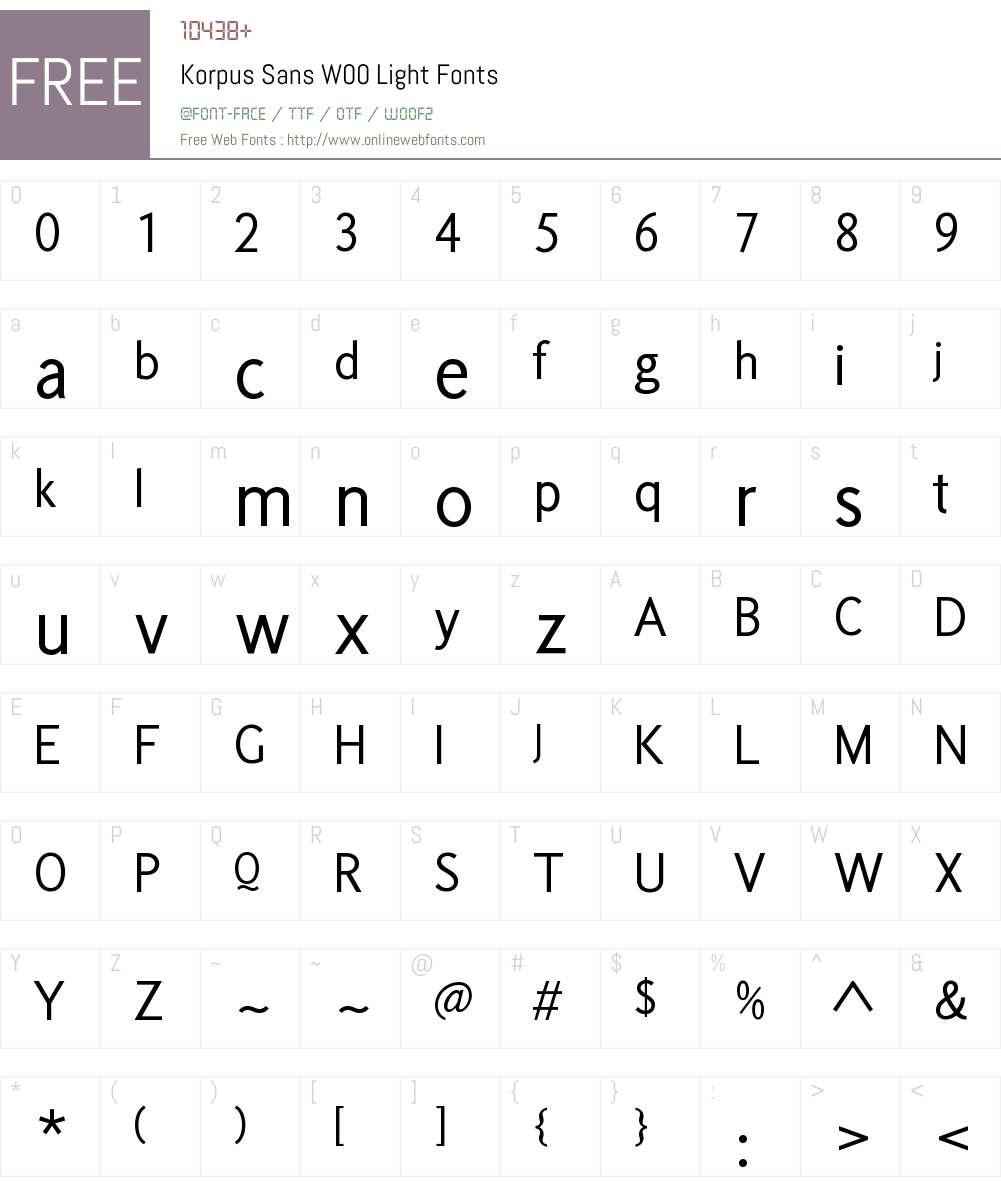 KorpusSansW00-Light Font Screenshots
