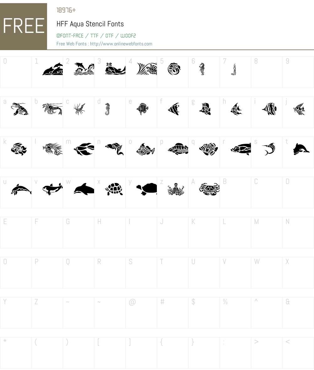 HFF Aqua Stencil Font Screenshots