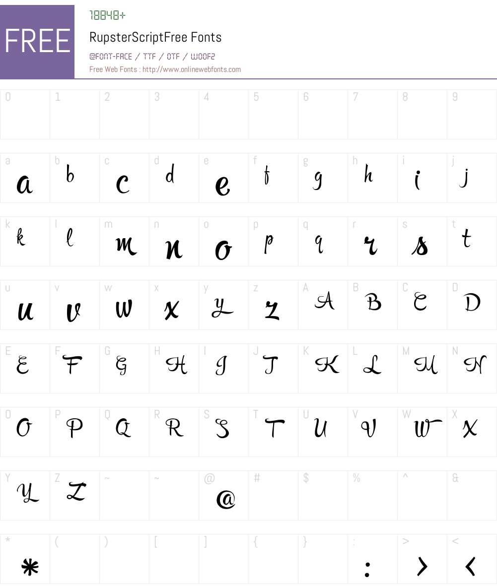 Rupster Script Free Font Screenshots