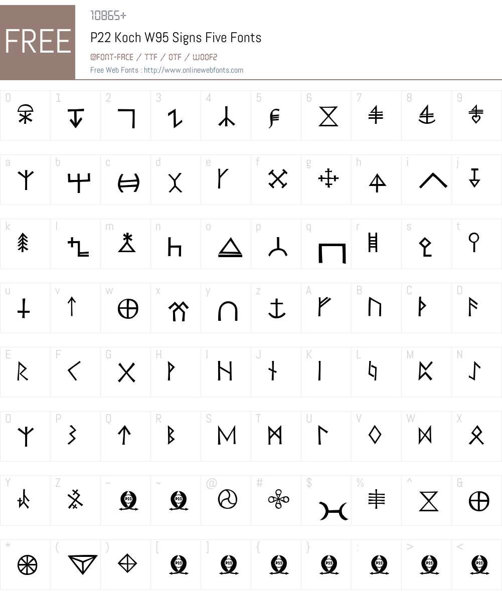 P22KochW95-SignsFive Font Screenshots