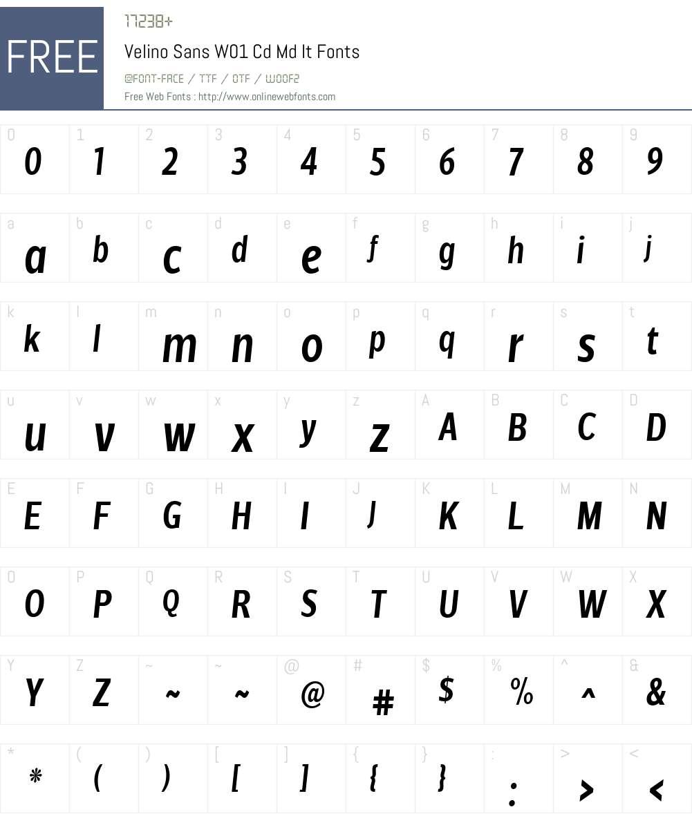 VelinoSansW01-CdMdIt Font Screenshots