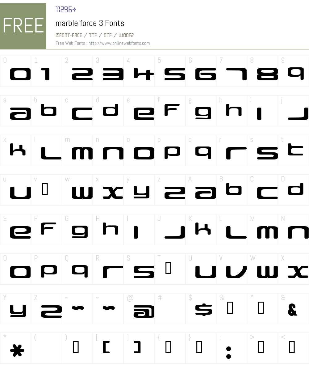marble force Font Screenshots