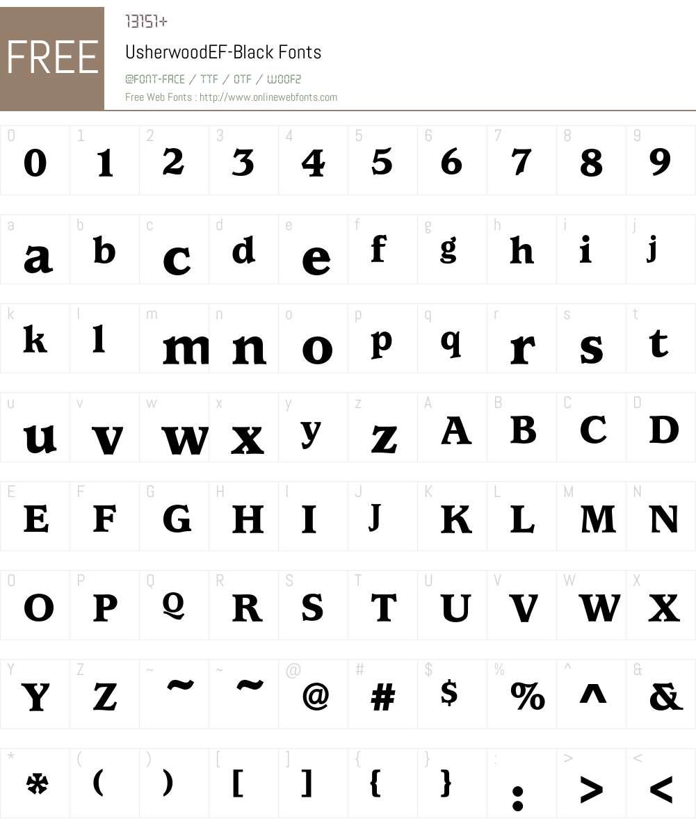 UsherwoodEF-Black Font Screenshots