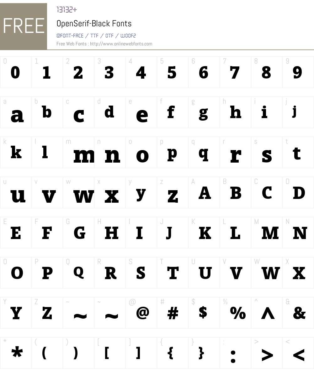 Open Serif Black Font Screenshots