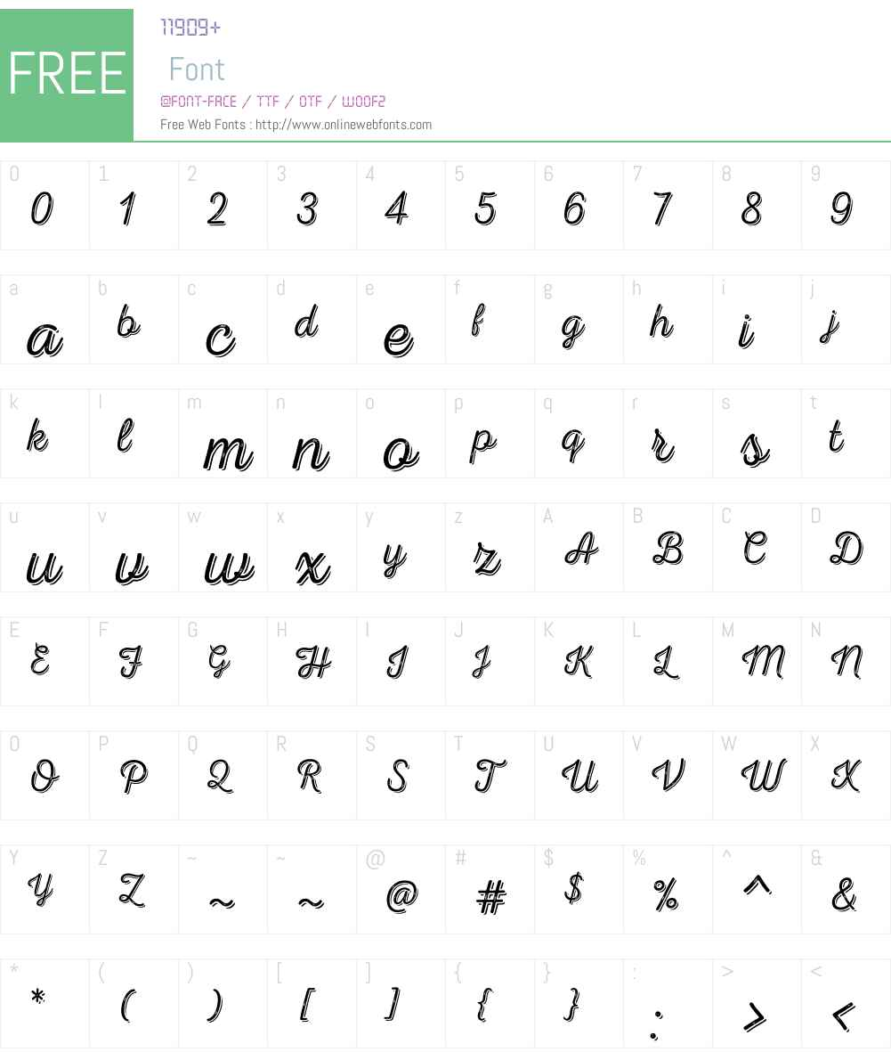 NexaRustScriptTW-Shadow Font Screenshots