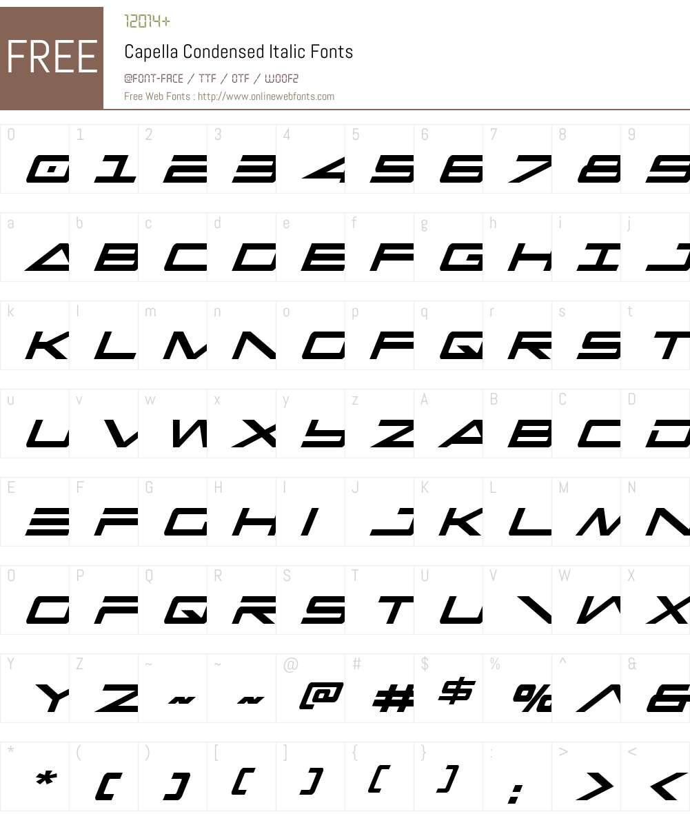 Capella Condensed Italic Font Screenshots