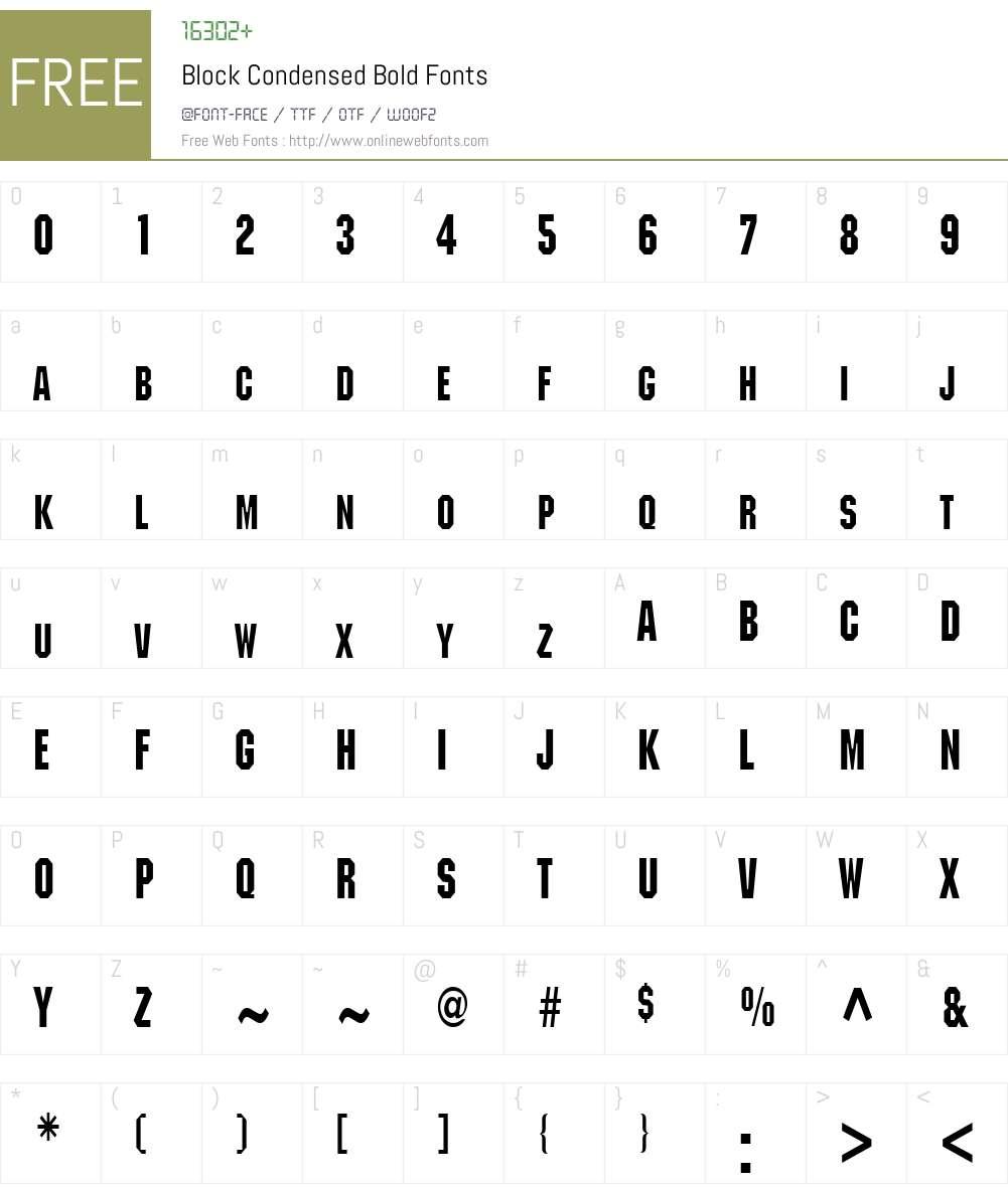 Block Condensed Font Screenshots