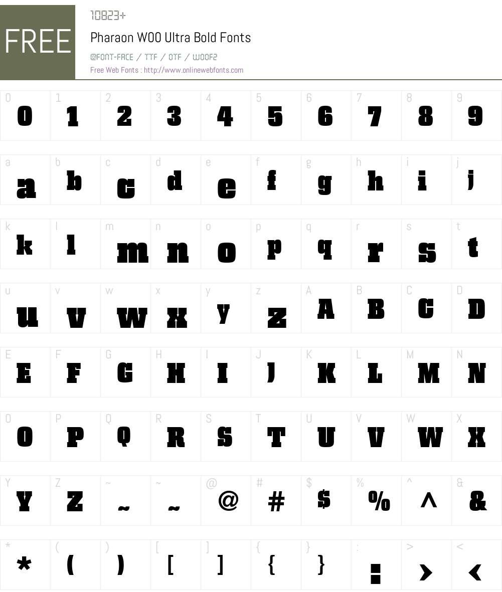 PharaonW00-UltraBold Font Screenshots