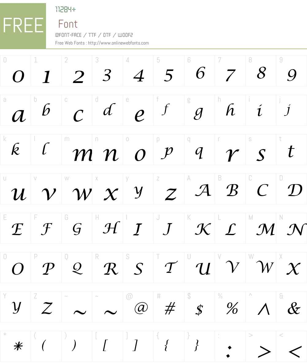 LucidaCalligraphyEF Font Screenshots