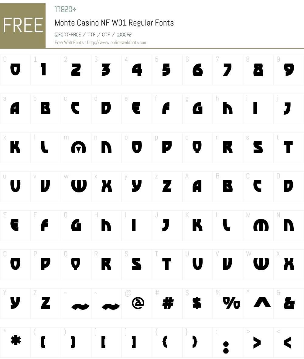 MonteCasinoNFW01-Regular Font Screenshots