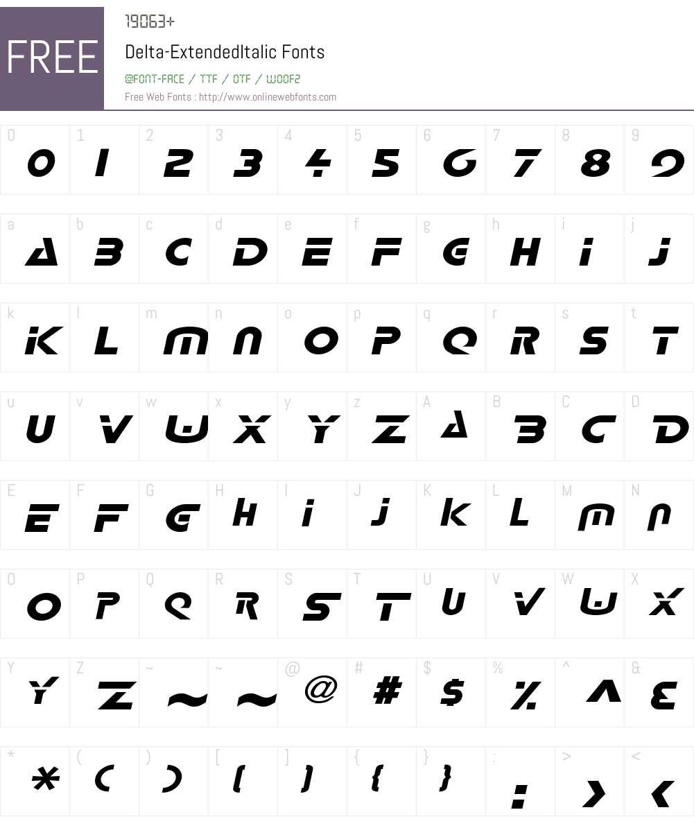 Delta-Extended Font Screenshots