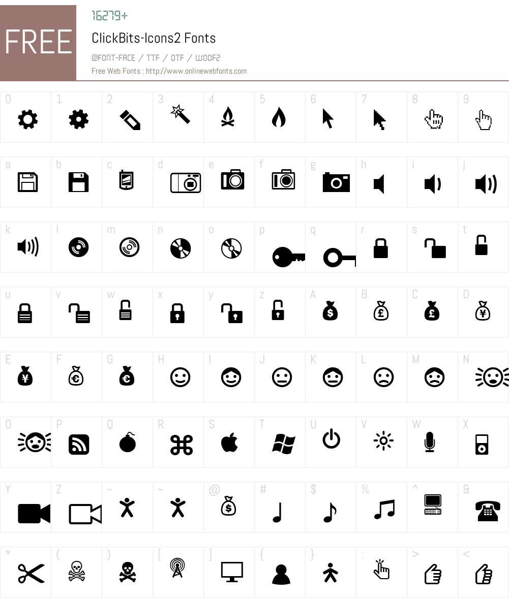 ClickBits-Icons2 Font Screenshots