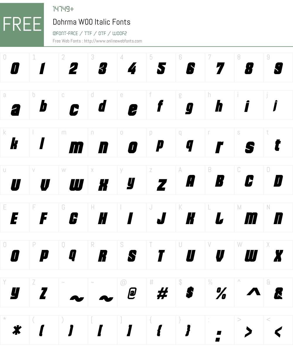 DohrmaW00-Italic Font Screenshots
