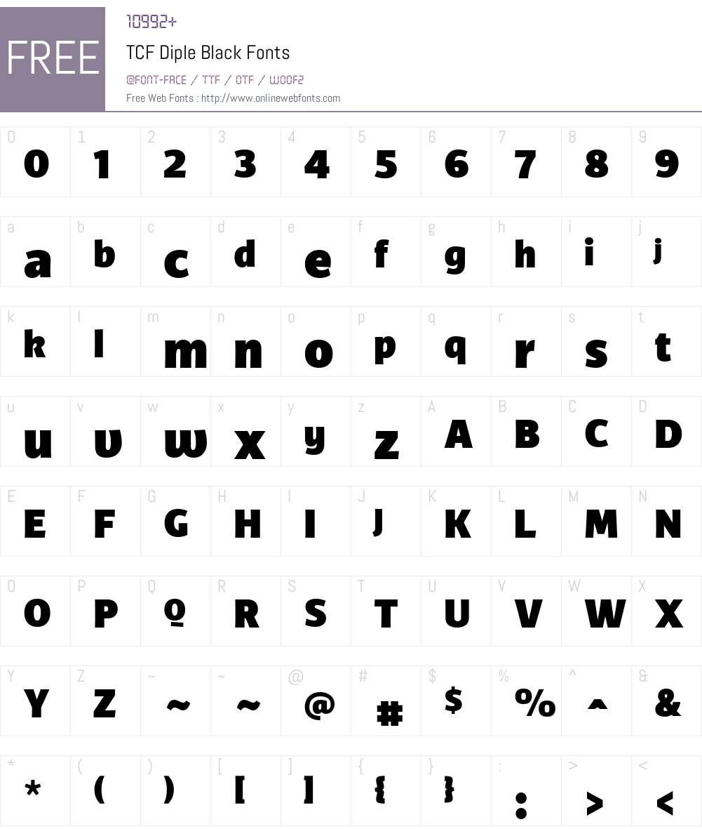 TCFDiple-Black Font Screenshots