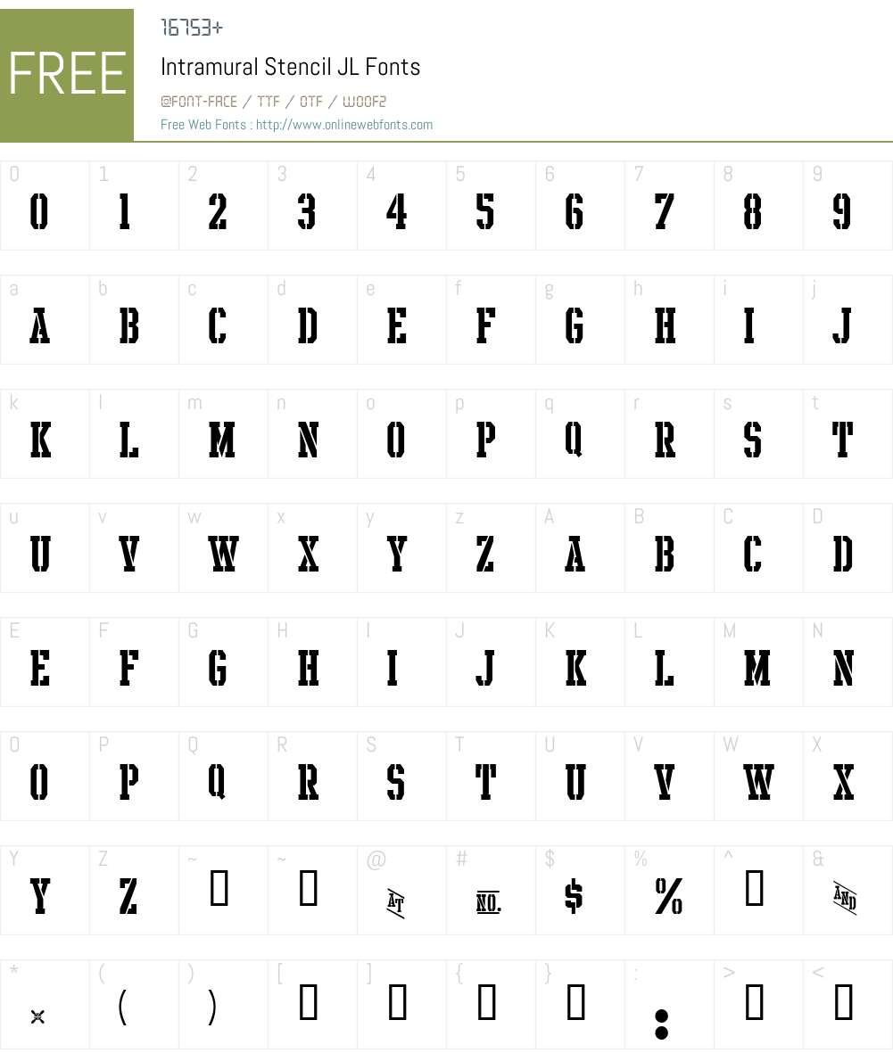 Intramural Stencil JL Font Screenshots
