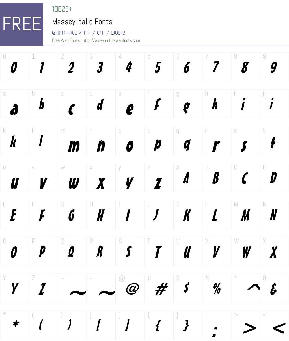 Massey Font Screenshots
