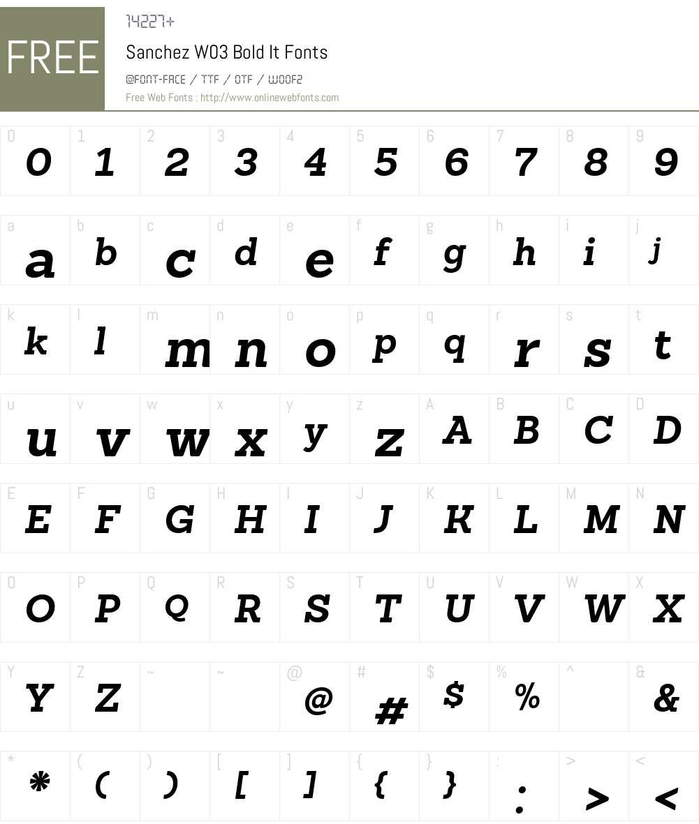 SanchezW03-BoldIt Font Screenshots