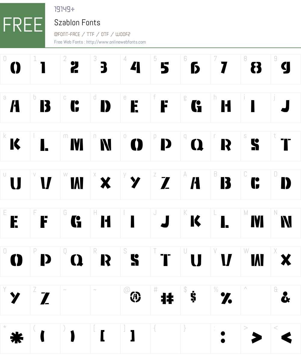 Szablon Font Screenshots