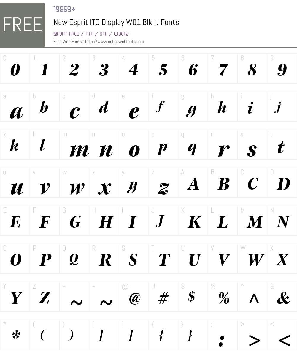 NewEspritITCDisplayW01-BlkIt Font Screenshots