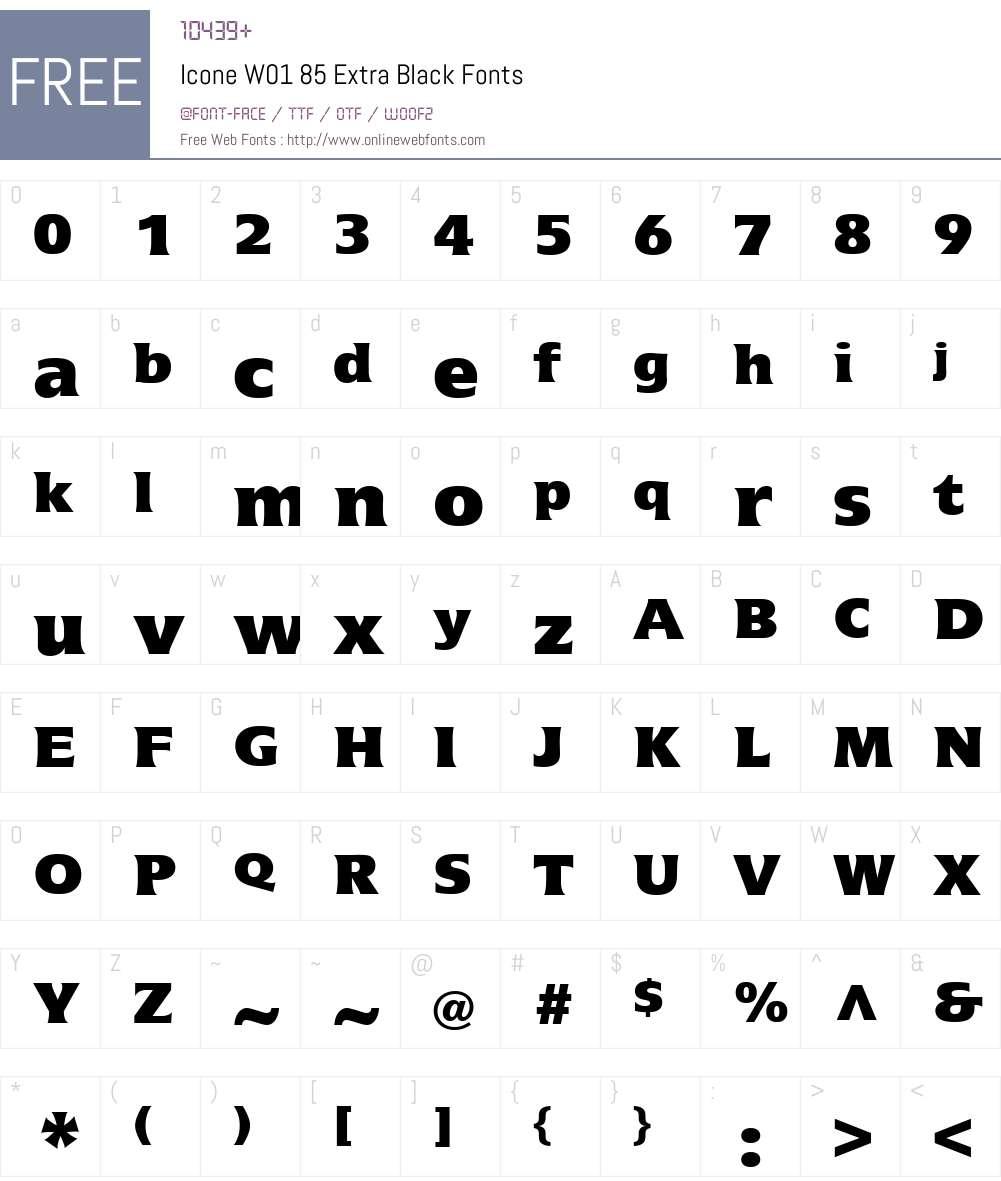 IconeW01-85ExtraBlack Font Screenshots