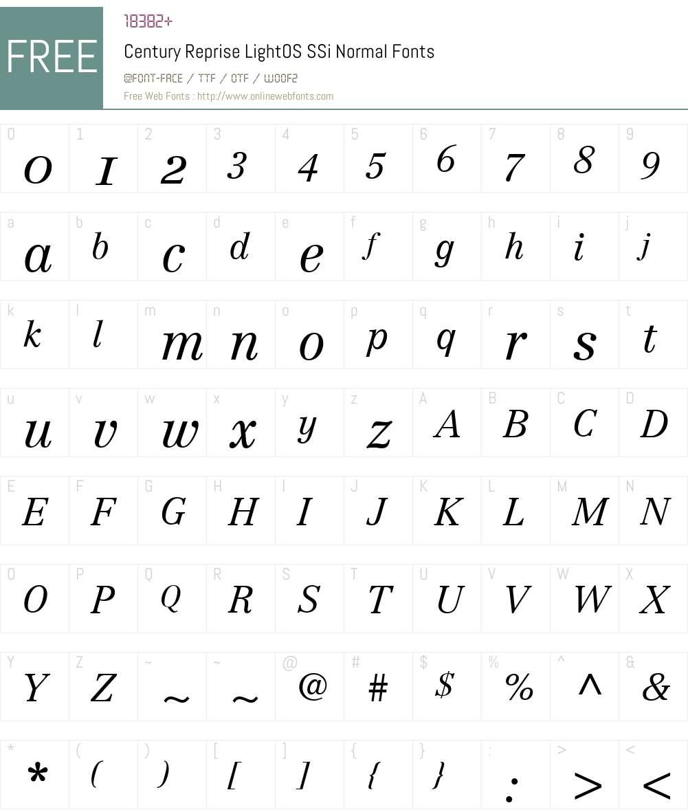 Century Reprise LightOS SSi Font Screenshots