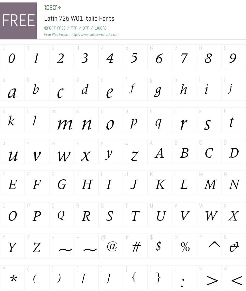 Latin725W01-Italic Font Screenshots