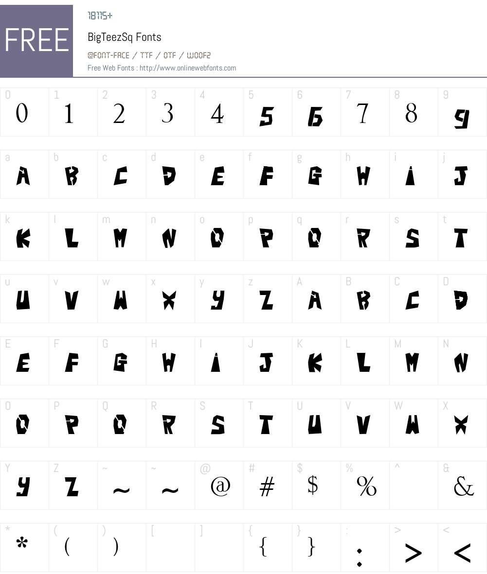 BigTeezSq Font Screenshots