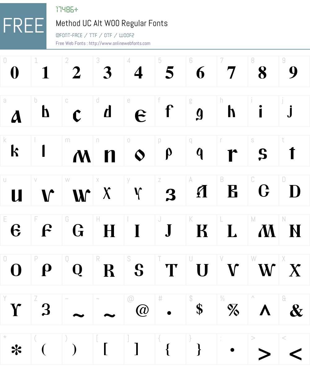 MethodUCAltW00-Regular Font Screenshots