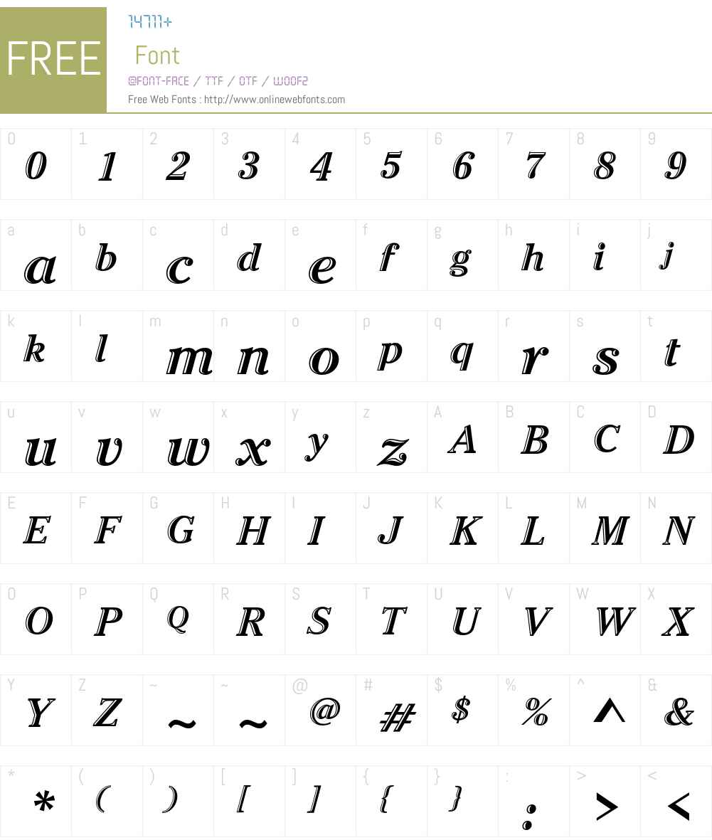 ITC Cheltenham Handtooled Font Screenshots