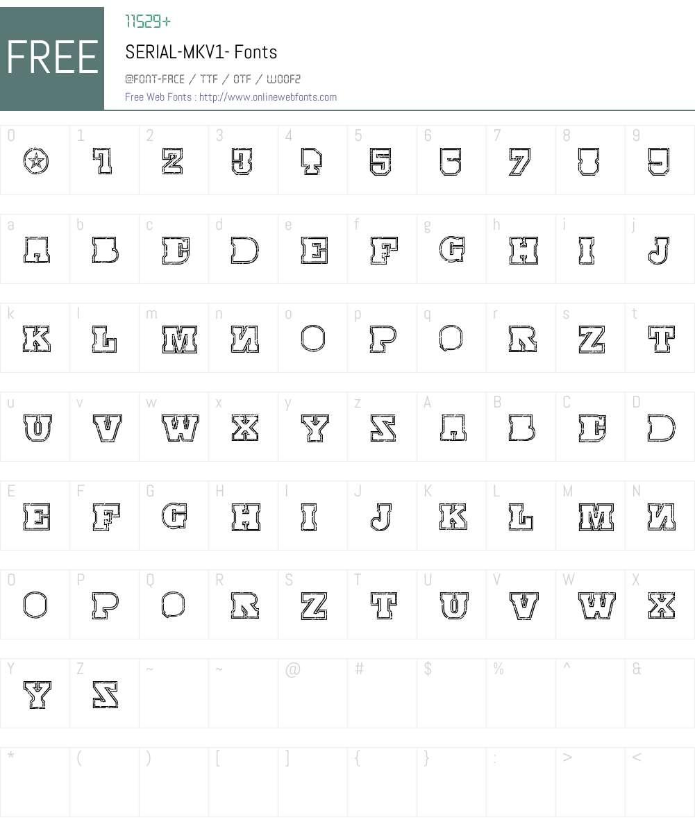 SERIAL-MKV1- Font Screenshots