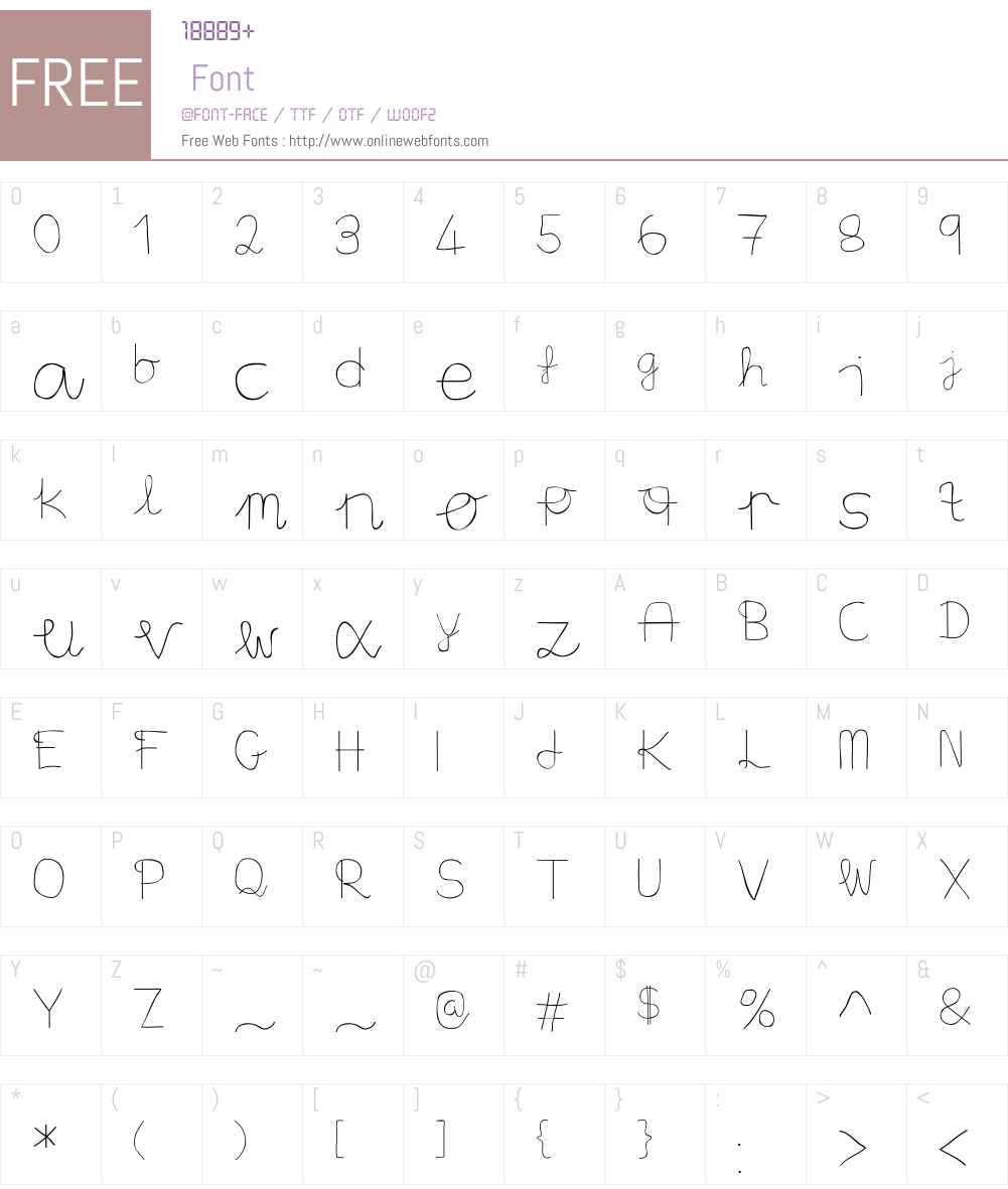 Aaron's Handwriting Font Screenshots