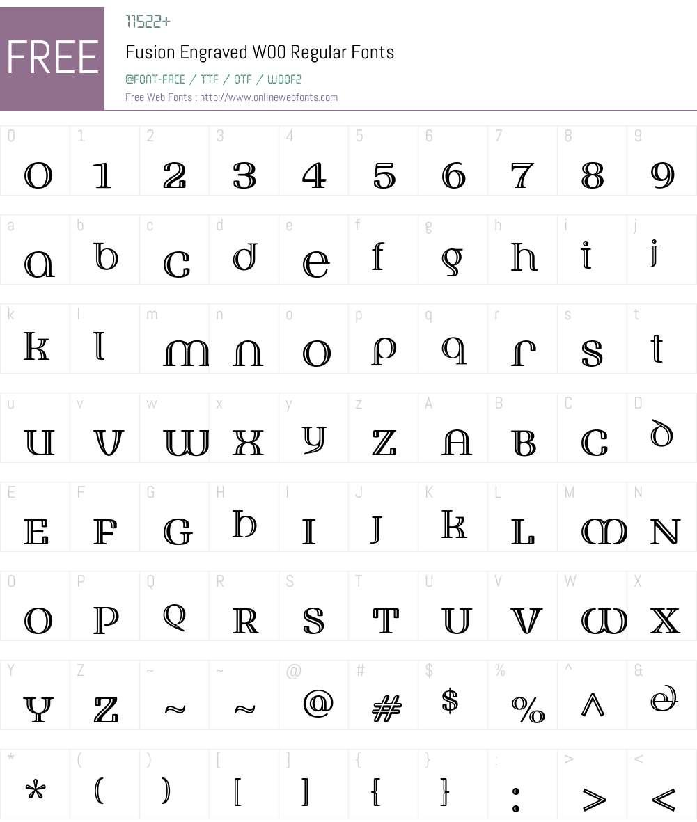 FusionEngravedW00-Regular Font Screenshots