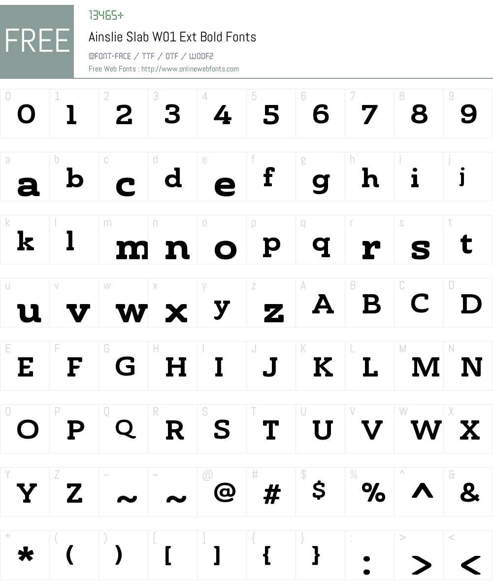 AinslieSlabW01-ExtBold Font Screenshots