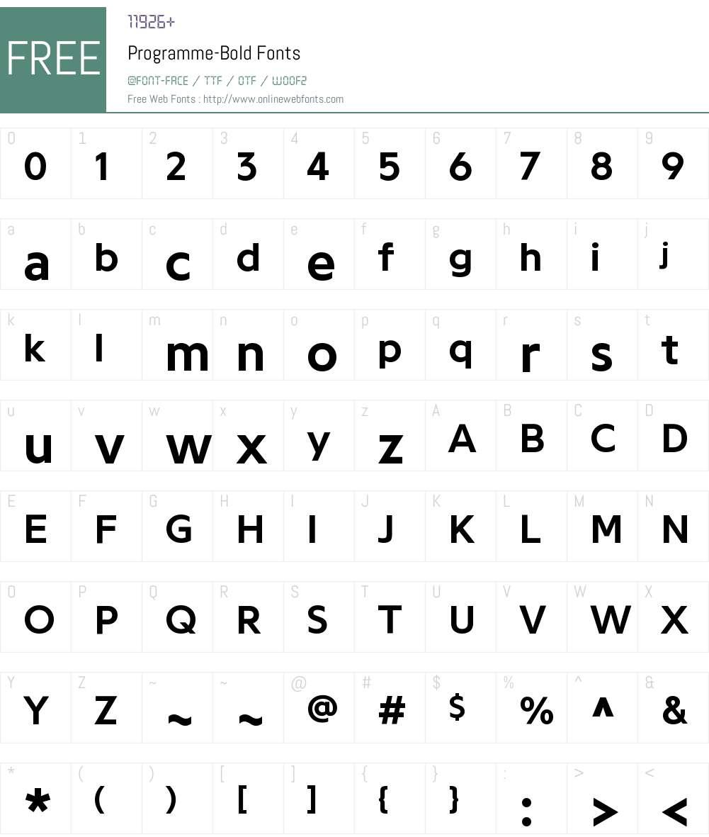 Programme Bold Font Screenshots