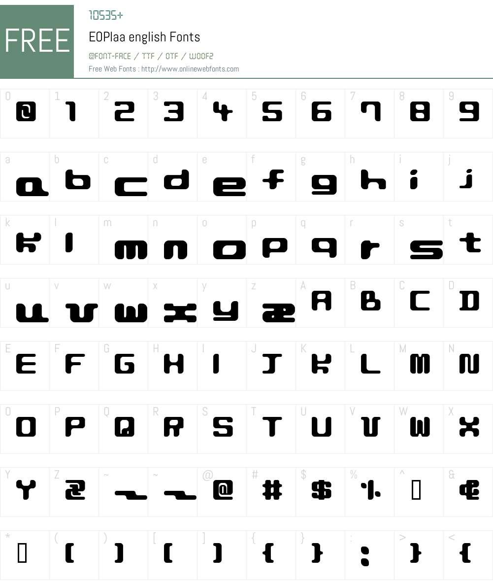 EOPlaa Font Screenshots