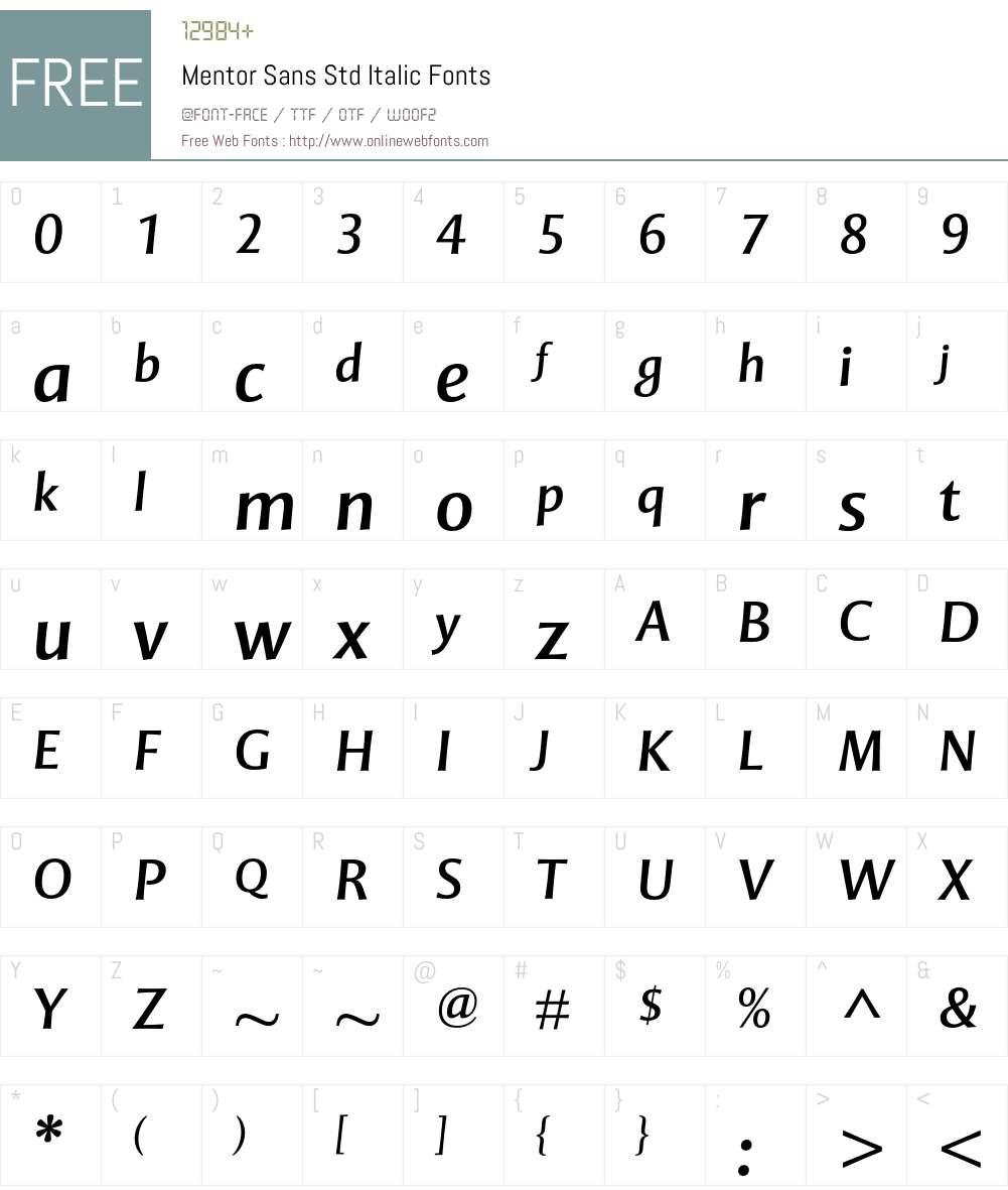 Mentor Sans Std Font Screenshots