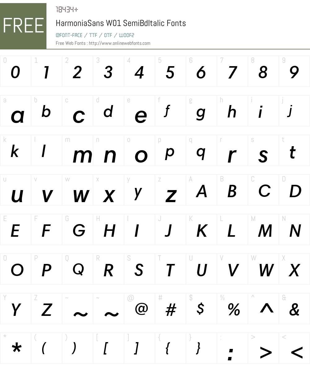 HarmoniaSansW01-SemiBdItalic Font Screenshots