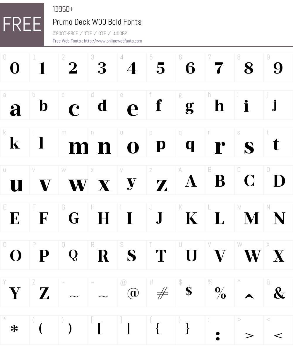 PrumoDeckW00-Bold Font Screenshots
