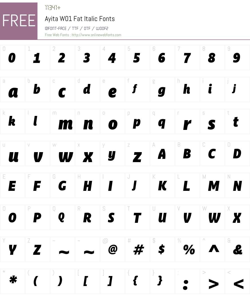 AyitaW01-FatItalic Font Screenshots