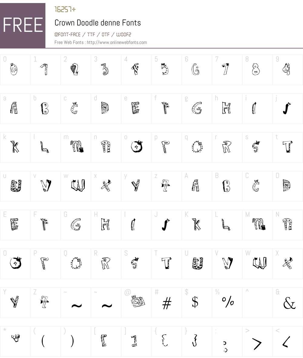 Crown Doodle denne Font Screenshots