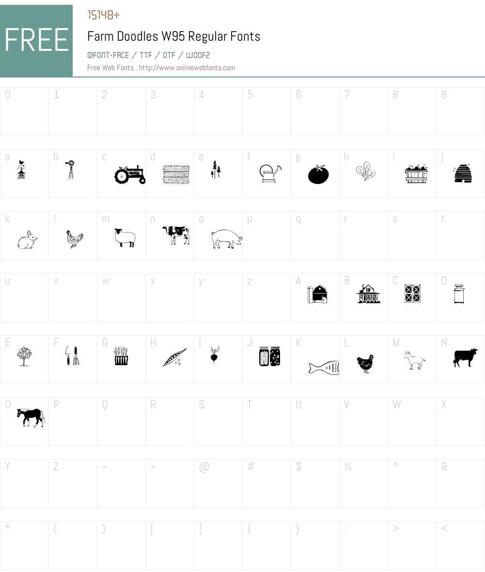 FarmDoodlesW95-Regular Font Screenshots