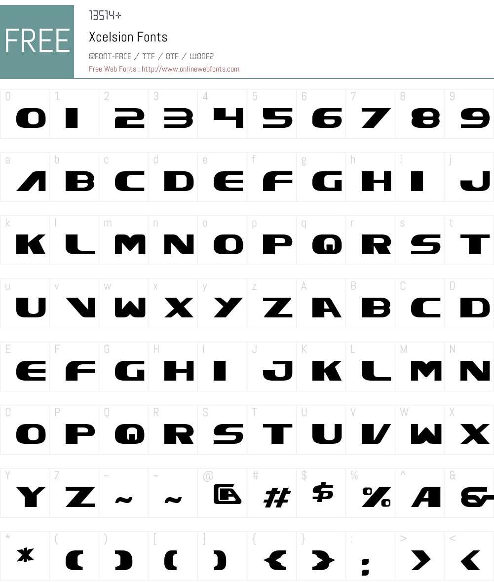 Xcelsion Font Screenshots