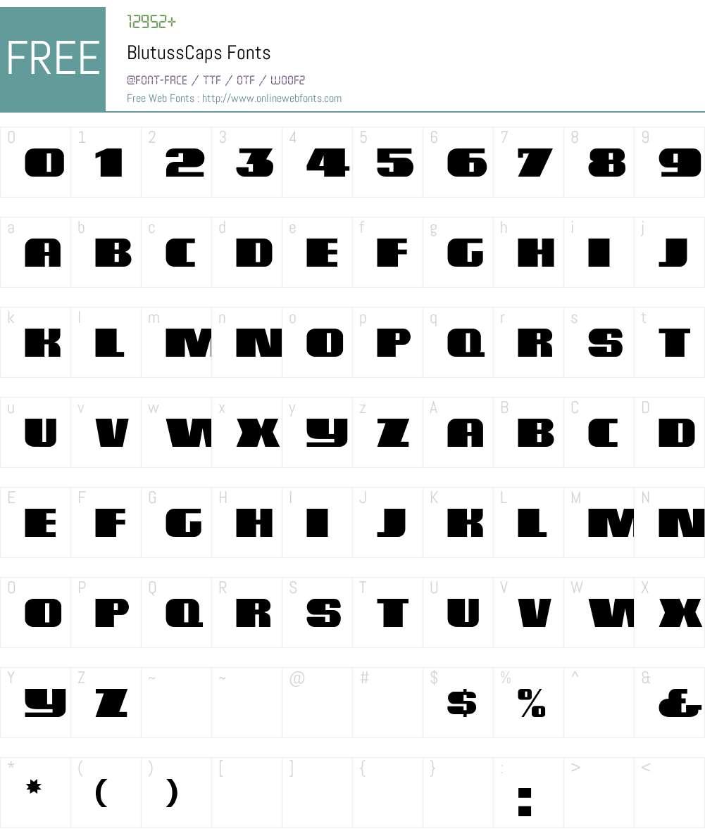 BlutussCaps Font Screenshots