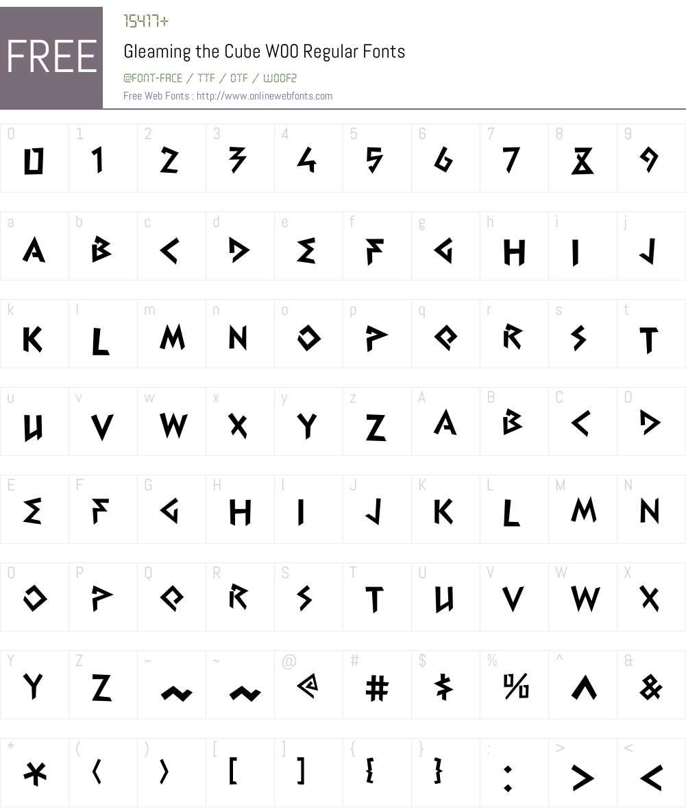 GleamingtheCubeW00-Regular Font Screenshots