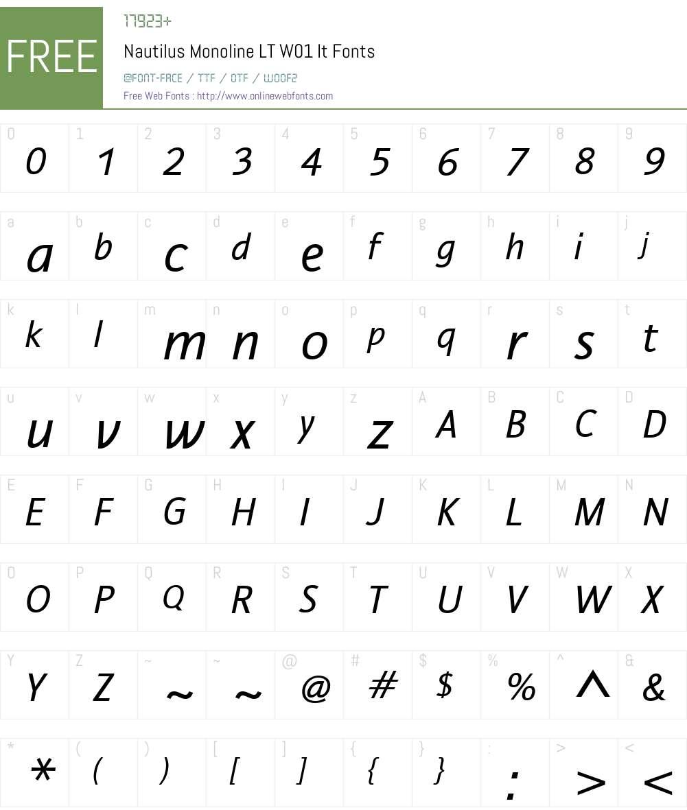 NautilusMonolineLTW01-It Font Screenshots